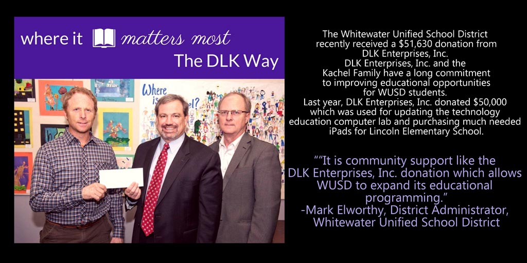DLK Donation to Whitewater Schools